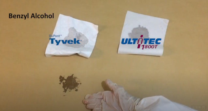 Fabric test with Benzyl Alcohol: ULTITEC 1800T VS TYVEK