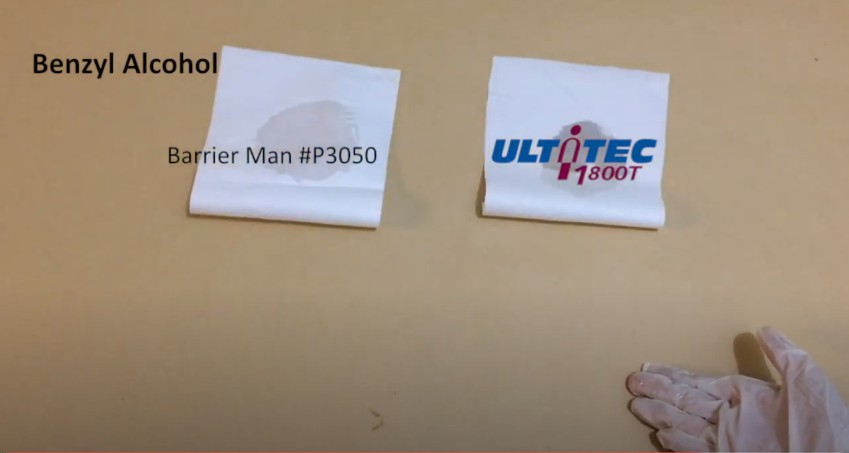 Fabric test with Benzyl Alcohol: ULTITEC 1800T VS BM