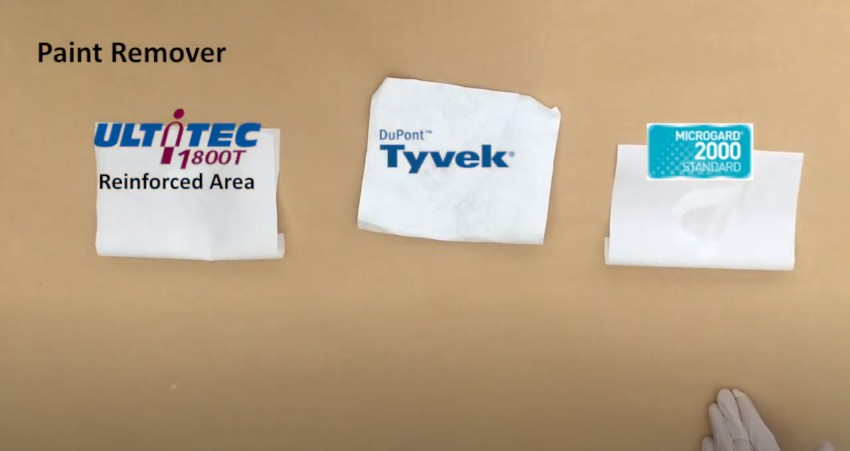 Fabric test with Paint remover: ULTITEC 1800T Reinforced area VS Tyvek VS MG 2000